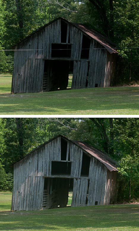 Old leaning barn south of Pine Bluff, Arkansas