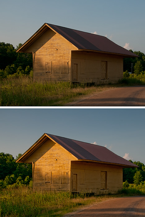 Old railroad building at Rison, Arkansas before and after