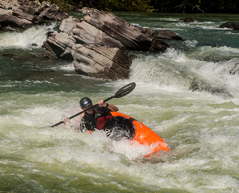 Tommy Wingard in rapids on the Cossatot River