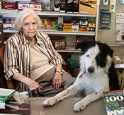 Margaret Phillips, and her dog Border Collie, Maggie, at L.M. Phillips General Merchandise, Fountain Hill Arkansas