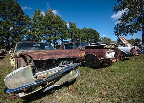 wrecked mustangs at james matthews at rose bud arkansas