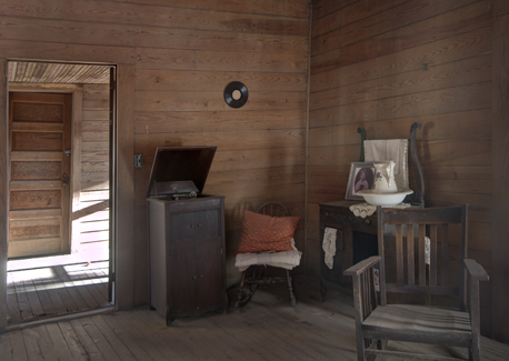 Interior of dog trot house bedroom