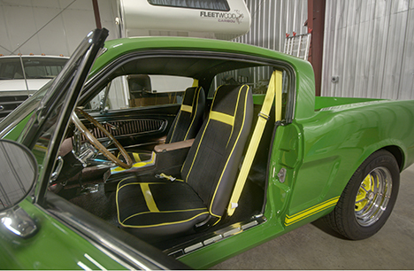 Interior of 66 mustang car converted to pickup truck