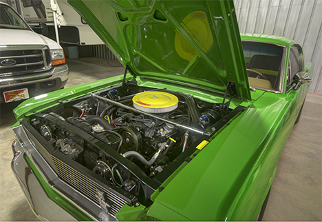 engine compartment in 66 mustang