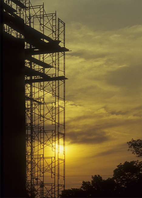 scaffolding in sunset
