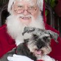 Santa holding Schnauzer