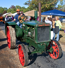 antique tractor in a parade