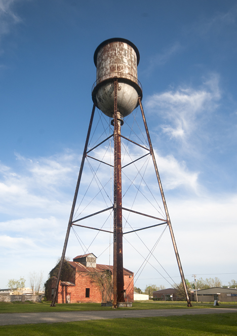 Old water tower and building at former Federal Compress