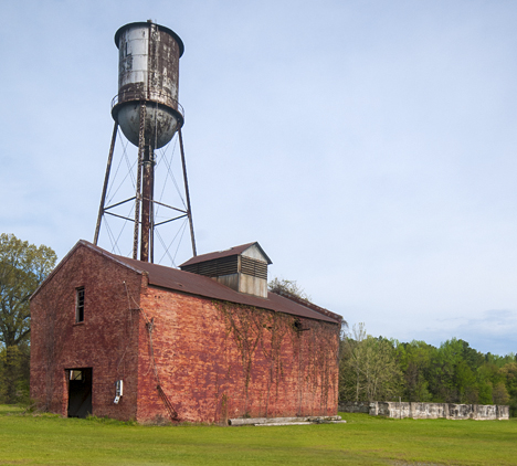 Old water tower and building at former Federal Compress in Pine Bluff Arkansas