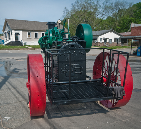 Back of antique case steam tractor