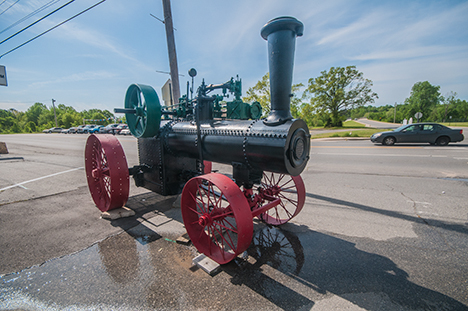 front view of antique case steam tractor