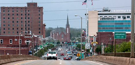 Garrison Avenue in Fort Smith AR from bridge