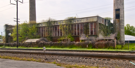 Old Arkansas Power and Light generator plant before demolition