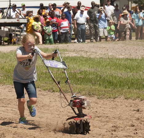 Little girl racing tiller