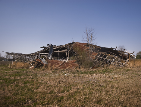 Collapsed barn