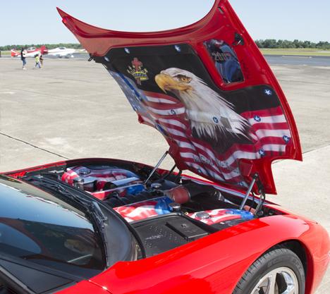 Patriotic decor on Corvette