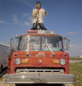 Elvis statue on a fire truck