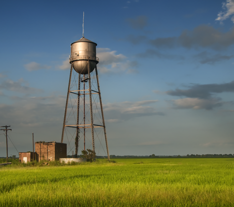 Water tower in rice field