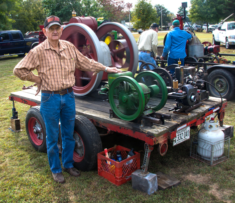 Carl Blackwell with restored gasoline engines