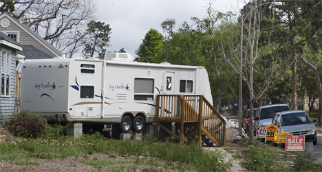 Camper trailer setup in New Orleans lower ninth ward