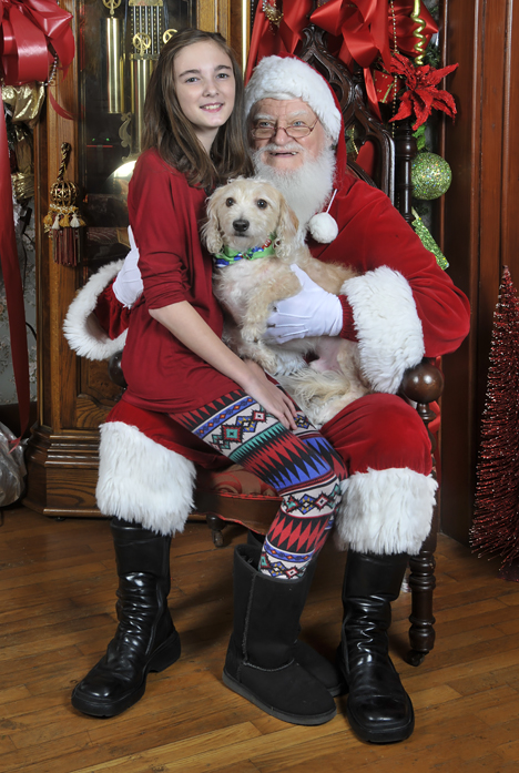santa girl and dog