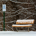 Park bench and sign in snow