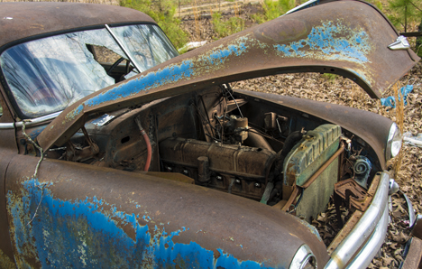 close up of junker 1950 chevy
