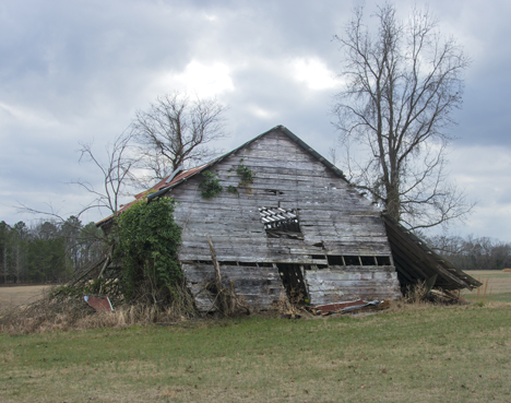Old leaning barn in Grant county Arkansas