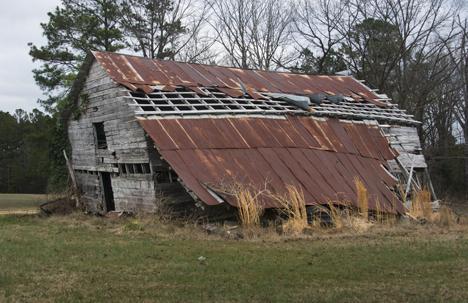 old falling barn