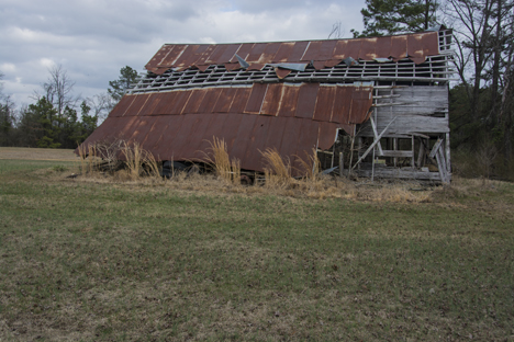 collapsing barn in Grant County Arkansas