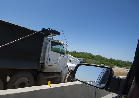 closeup view of dump truck