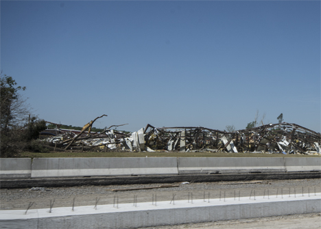 Tornado damage near Morgan and Mayflower, Arkansas