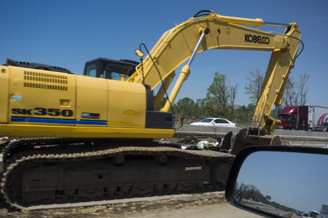 closeup of large backhoe