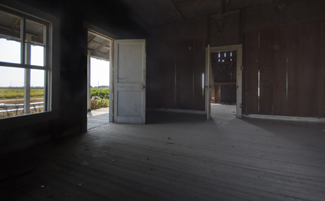 Inside and front door of old farm house