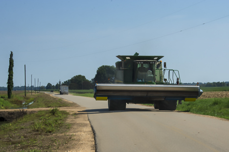 Combine on rural road west of pickens arkansas
