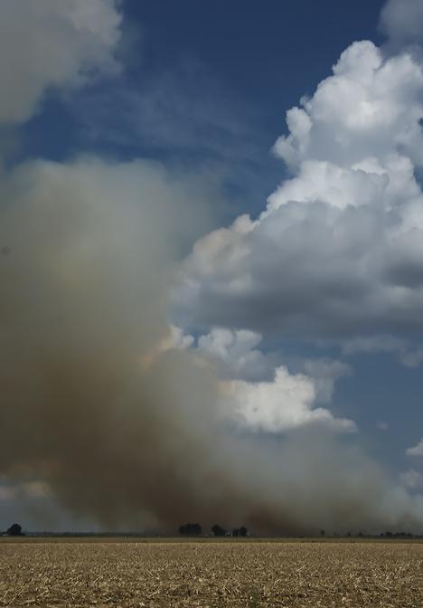 Field burn off fire in the Delta