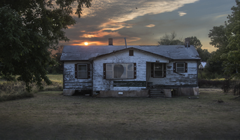 Abandoned Delta home at sunset in Arkansas