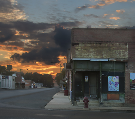 Downtown in Elaine Arkansas at sunset