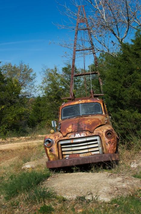 A 1954 GMC winch truck