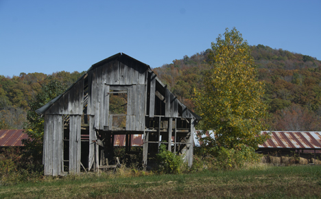 Old leaning barn