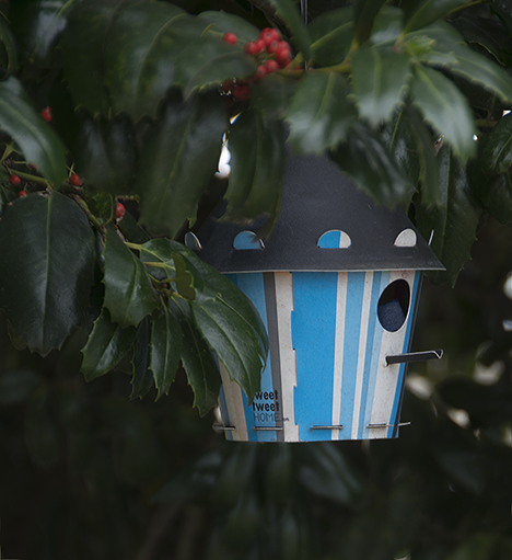 Striped birdhouse