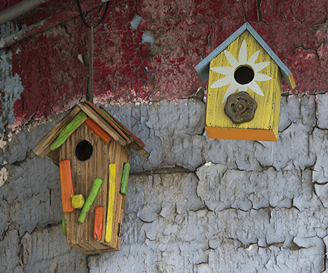 birdhouses in old service station