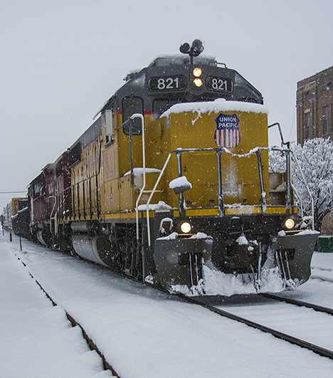 UP locomotive in snow