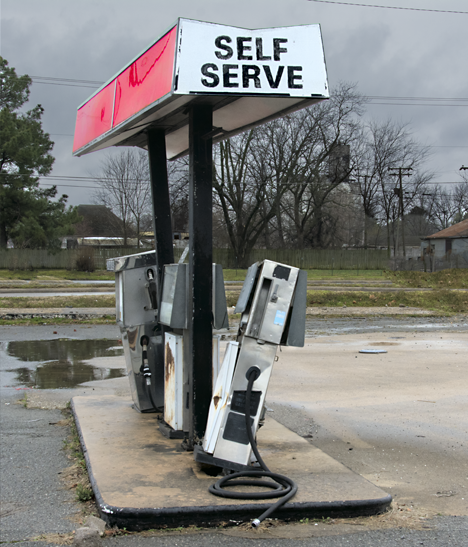 Abandoned gas pumps