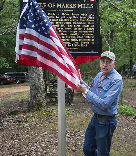 Edgar Colvin unveils a historical marker