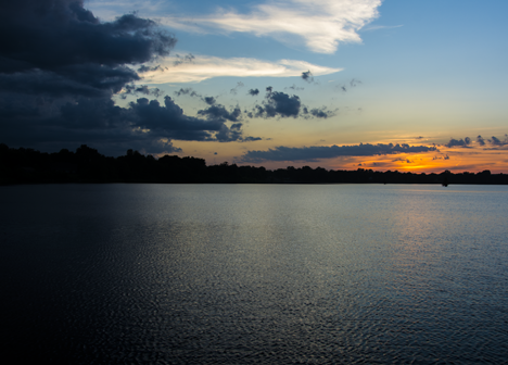 Wide view of Saracen Lake after sunset