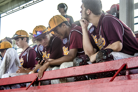 Baseball team in the stands