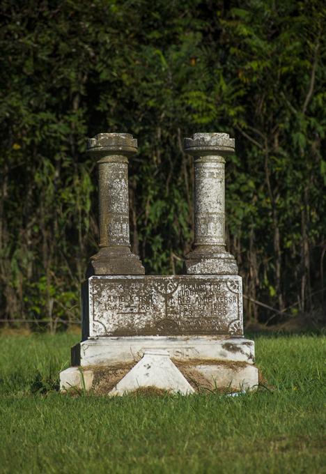 Two column grave stone