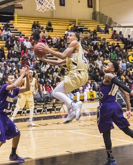 UAPB player makes his move to the hoop