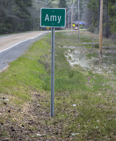Town limits sign at Amy Arkansas